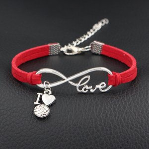 Red Leather Suede Bracelet Single Layer Silver Color Infinity Love I Heart Volleyball Special Jewelry For Women Men Day Gift Big Discount