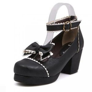 Wholesale Lolita Student High Heel Shoes Round Head Butterfly knotted Women s Shoes