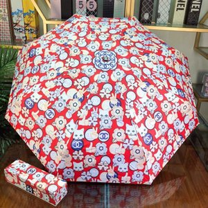 Wholesale Cute Cat Printed Umbrellas INS Fashion Lovely Design Girls Sun Parasol Outdoor Portable Trendy Female Umbrella With Box
