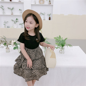 Wholesale 2019 Summer New Arrival korean style cotton matching leopard printed all match cake dress for fashion cute sweet baby girls