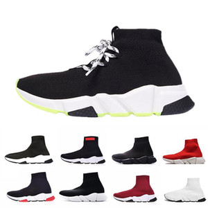 Wholesale lace up Luxury Designer casual sock Shoes lace up Speed Trainer Black Red Triple Black Brand Fashion Socks Trainer sports Sneakers