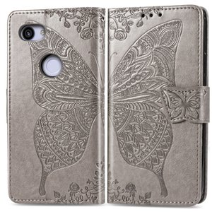 Wholesale pixel 3a case resale online - Folded PU Leather Case For Google Pixel A XL with Wallet Card Punched Concave Flower Butterfly Pattern Slot Hand Strap Pixel A XL