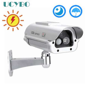 Wholesale Solar Powered Outdoor CCTV Home Security decoy Fake Dummy Camera Cam With Flashing Infrared LED Lights Human Sensor detection