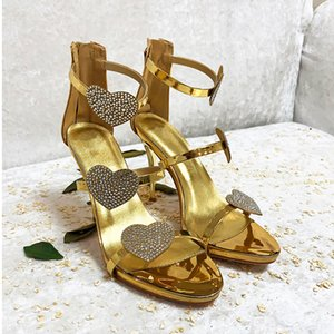 Wholesale Heart Shaped Women High Heels Gold Silver Diamond Thin Heels Sexy Peep Toe Wedding Party Sandals Patent Leather Summer Shoes ZIP