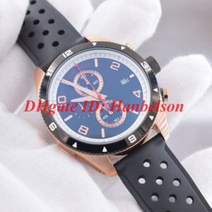Casual Men's Sport watch Quartz movement VK chronograph Rose gold stainless steel case Black bezel Rubber band mon Small dials work U0116100