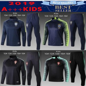 Wholesale 2019 Portugal kids kit training suit soccer sets survêtements COUTINHO JESUS JOAO FELIX young chandail de football tracksuit