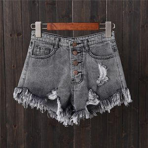 denim shorts gray hole row buckle large size Jeans female summer thin wide leg pants hot pants edge