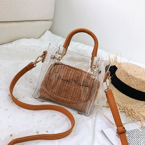 Wholesale Transparent Pvc Braided Rope Women s Handbags Clear Jelly Print Crossbody Bag for Women Large Capacity Waterproof Beach Bag Tote