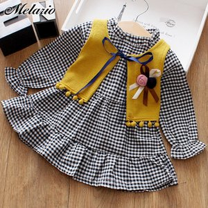 Wholesale Melario Casual Spring Autumn Baby Clothes Long sleeved Dress for Girl Plaid Shirts Toddler Girl Drese Fur Vest Suit