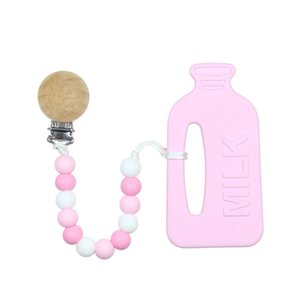 Wholesale The new baby bottle shape silicone gum children grinding stick baby customized teeth grinding device Baby Tooth Bead Gift Gutta percha