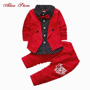 Wholesale 2017 Boys Spring Two Fake Clothing Sets Kids Boys Button Letter Bow Suit Sets Children Jacket + Pants 2 pcs Clothing Set Baby SH190916