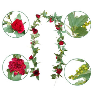 Wholesale Hawaiian style Hanging Greenery Silk Floral Vine Rattan Artificial Rose Magnolia Flower Garland for Wedding Party Decoration M13