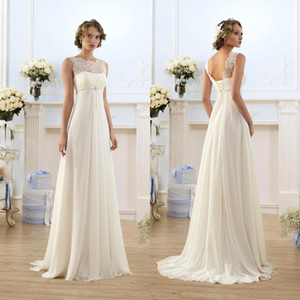 Lace Chiffon Empire Wedding Dresses 2019 Cheap Sheer Neck Capped Sleeve A Line Long Chiffon Wedding Dresses Summer Beach Bridal Gowns CPS212 on Sale