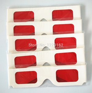 lens 3 Free shipping (100pcs lot) Re-useable white paper 3 glasses Paper Frame Red Red lens 3d Decoder Glasses for promotion