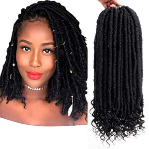 Crownhairstore 16 inches Black Straight Goddess Faux Locs Synthetic Crochet Hair with Curly Ends Twist Braids 24 Strand on Sale