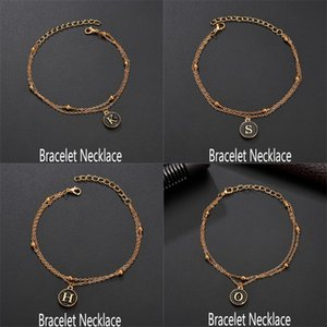 Wholesale Fashion Name Initials A Z Leather Bracelet Men Women Vintage Black Circle Pendant Round Coin Charm Bracelets Boho New