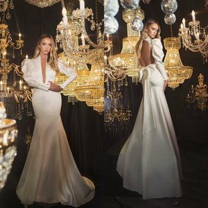 Wholesale Oved Cohen Mermaid Wedding Dresses Deep V Neck Sweep Train Satin Long Sleeve Wedding Dress Sexy Backless Vintage Robes De Mariée