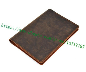 Wholesale leather agenda planner resale online - First Class Brown Mono Canvas Coated Real Leather R20100 Desk Agenda Famous Designer Bifold Planner Diary Holder Size cm