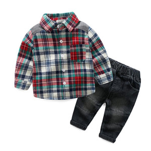 Wholesale boy shirt long sleeve plaid for sale - Group buy Gentleman Boy Kids clothing Baby Spring sets turn down collar Plaid style Long sleeve Shirt Pant sets Spring Fall boy clothing sets