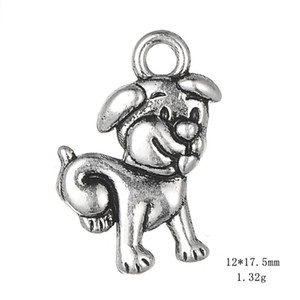 Wholesale Antique Silver Cute Dog Pendant Animal Charms For Handmade Jewelry Bracelets Necklace Making DIY Accessories