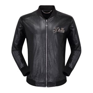 Wholesale Wholesale- 2018 Winter Leather Jacket Men Turn-down Collar Jaqueta De Couro Masculina PU Mens Leather Jackets Skull Punk Veste Cuir Homme 01