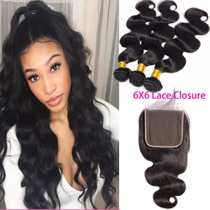 Peruvian Body Wave Mink 3 Bundles With 6X6 Lace Closure Natural Color Vigin Hair Extensions 8-30inch Hair Wefts With 6*6 Closure
