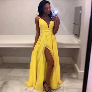 2019 New Arrival Long Evening Dress V-neck Spaghetti Straps Simple Yellow Chiffon Front Split Formal Party Dress Robe De Soiree on Sale