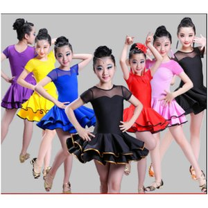 Wholesale 2018 New Arrival Girl Latin Dance Dress Child Fitness Samba Chacha Dancing Suit Students Rumba Showing Dancing Uniform B