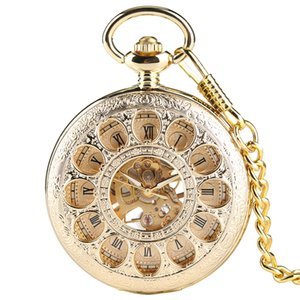 Wholesale Luxury Gold Color Hollow Automatic Mechanical Pocket Watch Chain Beautiful Fob Watches Men Women Hand wind Clock Birthday Gifts