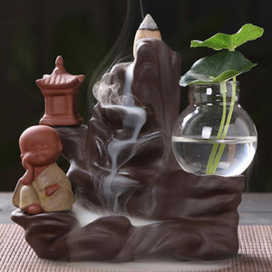 Backflow Incense Burner Holder Ceramic Little Monk Small Buddha Waterfall Sandalwood Censer Creatives Home Decor with 10 Cones