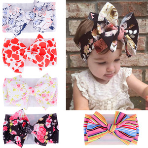Wholesale Baby Floral Printed Headband Girls Striped nylon Hairband Flower print Hair Bow Bohemia Hair Band Kids Hair Accessories GGA2175