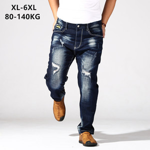 Wholesale Distressed Jeans Mens Dark Blue Trousers Men s Ripped Jean Hole Denim Elastic Oversize Big Plus Size XL XL KG Pant Clothes