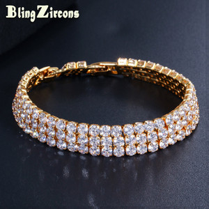 Wholesale BlingZircons Luxury Yellow Gold Color CZ Crystal Paved Full Round Cubic Zirconia Big Wide Bracelet Bangle Jewelry for Women B202