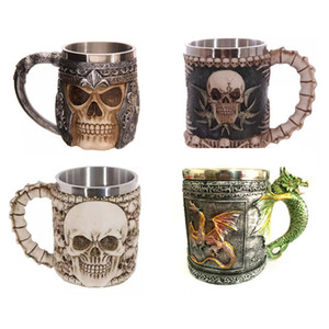 Wholesale 3D Skull Mugs Coffee Mug Design Creative Double Wall Stainless SteelSkull Knight Tankard Dragon Drinking Cup Canecas Copo