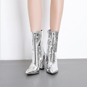Wholesale Chic women s boots explosions patent leather fabric pointed thick with high heel zipper knight boots yards