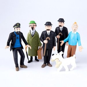 Wholesale 6pcs set cm The Adventures of Tintin PVC Action Figures Collectible Model Toy Dolls Baby Gifts