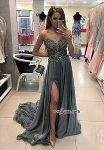 Wholesale New Arrival Vestidos de Fiesta Gray Prom Dresses Long Cheap Split Evening Gowns Lace Cocktail Party Dress Formal Gown Robes de Soiree