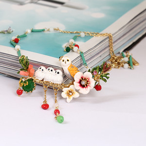 Wholesale Juicy Grape France Romantic Enamel Snowy Owl Baby Crystal Tassels Necklace Copper Alloy Gilded Necklace Women Jewelry