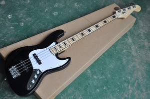 Factory Direct 4-String Black Electric Jazz Bass Guitar with Black Inlay and Chrome Hardware,White Pickguard,can be customized.