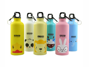 Wholesale 2018 New Designer Aluminum Sports Water Bottle Cute Cartoon Animal Pattern Portable Christmas Gift Drinkware Kitchen accessories