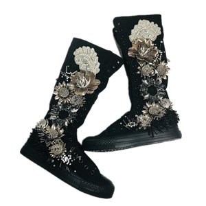 Wholesale Women s Runway Style Cute Long White Distressed Peals Tassel Sequin Boots Handmade D Shoes Muffin Bottom Canvas Shoes European Brandstyle