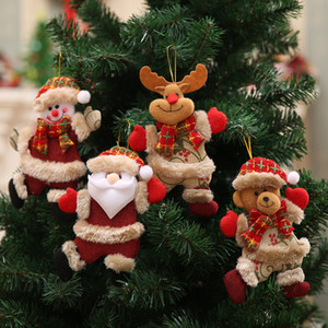 Wholesale Cartoon Christmas Tree Ornaments Santa Claus Snowman Reindeer Doll Hanging Pendants Kids Plush Toy Ornament For Party Decorations hb E1