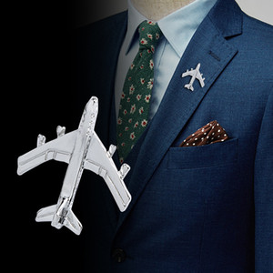 Wholesale Shiny Aircraft Brooches Pin Badge Air Plane Brooch Shirt Badges Men Suit Dress Lapel Sticker Jewelry Gift