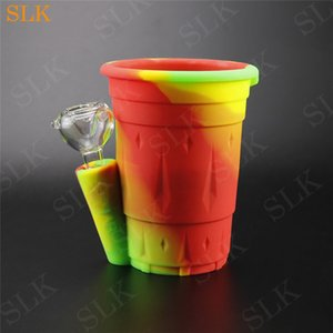 Wholesale Unique fruit juice Drinking cup shape smoke honey straw bubbler bong two layers water bong pot smoking pipe