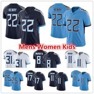 Mens Women Youth TennesseeTitans 11 AJ Brown 22 Derrick Henry 8 Marcus Mariota Kevin Byard Ryan Tannehill Taylor Lewan Jackson Jerseys