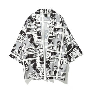 Wholesale 2019 Spring Summer Japanese Comic cartoon Men Printed Oversized Kimono Cardigan Jackets Hip Hop Streetwear Sleeve coats