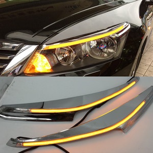 Wholesale led cars lights resale online - 1 Pair For Honda Accord Car Headlight Eyebrow Decoration Yellow Turn Signal DRL LED Daytime Running Light
