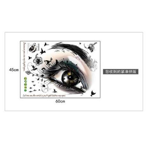 Wholesale New Big Eye Art Wall Sticker Beauty Salon DIY Vinyl Removable Home Decor Stickers Living Room Poster Eyebrow Shop Decals