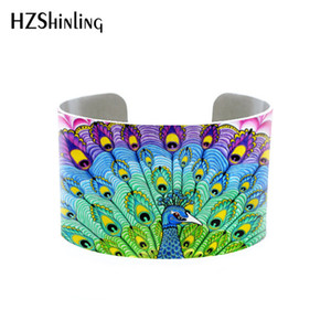 Wholesale Peacock Feather Cuffs Blue Feather Adjustable Metal Cuff Boho Chic Cuff Custom Printed Cuff Bracelet Photo bangle