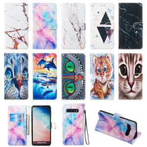 3D Leather Wallet Case For Samsung M30 M20 M10 A70 A50 A40 A30 A10 Note 9 Marble Stone Cat Owl Dolphin Ocean Granite Rock Luxury Flip Cover
